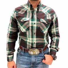 Camisa Tassa Xadrez Verde Marrom 3920.1 ... b29753bb6d183