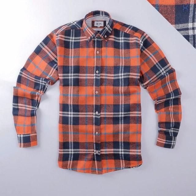 Camisa TXC Flanelada Xadrez Laranja/Azul Marinho 2175L
