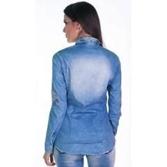 Camisa Zenz Western Jeans com Bordados e Strass ZW0478