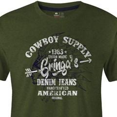 Camiseta Gringa'S Western Wear Verde Oliva/ Estampa 0419101