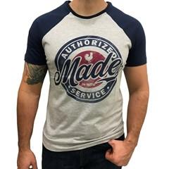 Camiseta Made In Mato Cinza Mescla/Azul Marinho C8203
