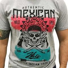 Camiseta Mexican Shirts Indian Skull Cinza Mescla