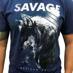 Camiseta Mexican Shirts Savage Azul Marinho
