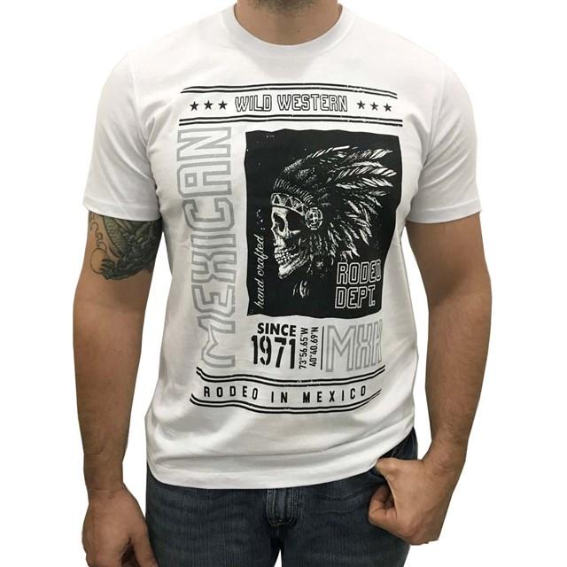 Camiseta Mexican Shirts Style Skull Branco