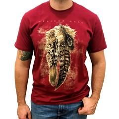 Camiseta Mexican Shirts Three Feathers Vermelho