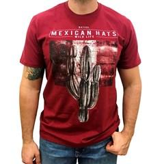 Camiseta Mexican Shirts Wild Life Vermelho Escuro
