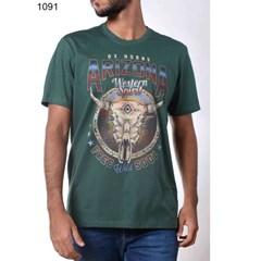 Camiseta Ox Horns Verde/Estampa 1091