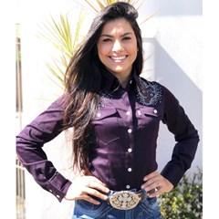 Camisete Apache Roxo Escuro/ Bordado/ Strass AP09-57