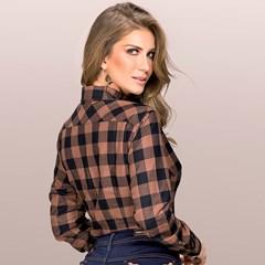 Camisete Buphallos Jeans Xadrez Marrom/ Preto 8160