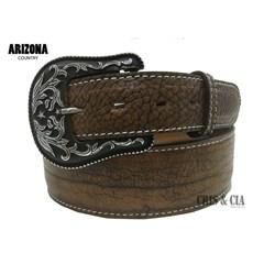 Cinto Arizona Belts Couro Corrugado Caramelo 7044
