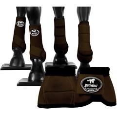 Conjunto Completo Ventrix Caneleira/Cloche/Skid Boots Marrom Boots Horse BH-03
