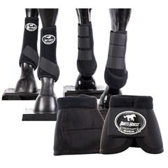 Conjunto Completo Ventrix Caneleira/Cloche/Skid Boots Preto Boots Horse BH-03