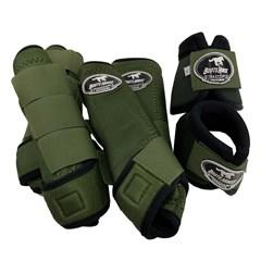 Conjunto Completo Ventrix Caneleira/Cloche/Skid Boots Verde Militar Boots Horse BH-03
