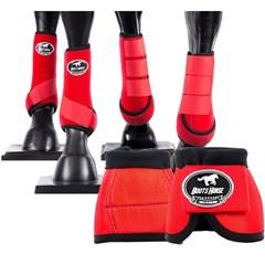 Conjunto Completo Ventrix Caneleira/Cloche/Skid Boots Vermelho Boots Horse BH-03