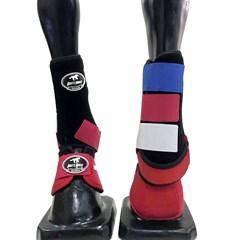 Conjunto Ventrix Caneleira e Cloche Vermelho/Branco/Azul/Preto Boots Horse KV-43 BH-02
