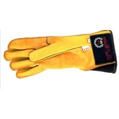 Luva Couro Amarela Profissional Mão Esquerda p/ Montaria em Touro - Paul Western LLE23-Amarela
