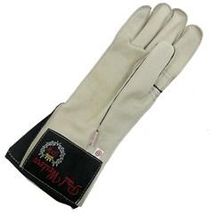 Luva Couro Branco Profissional Mão Direita p/ Montaria em Touro - Paul Western LLD23-Branco