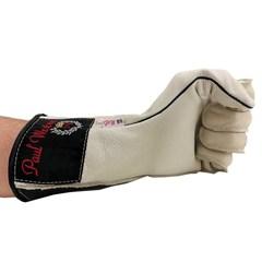 Luva Couro Branco Profissional Mão Esquerda p/ Montaria em Touro - Paul Western LLE23-Branco
