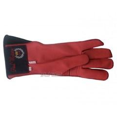 Luva Couro Vermelho Profissional Mão Esquerda p/ Montaria em Touro - Paul Western LLE23-Vermelho