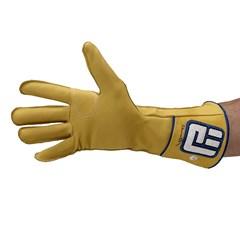 Luva Never Giv Up p/ Montaria em Touro Amarelo/Azul/B Mão Direita