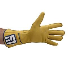 Luva Never Giv Up p/ Montaria em Touro Amarelo/Azul/B Mão Esquerda