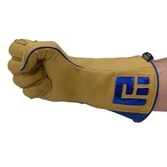 Luva Never Giv Up p/ Montaria em Touro Amarelo/Azul Mão Direita