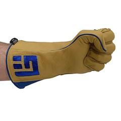 Luva Never Giv Up p/ Montaria em Touro Amarelo/Azul Mão Esquerda