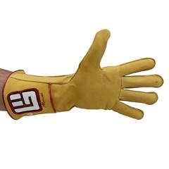 Luva Never Giv Up p/ Montaria em Touro Amarelo/Vermelho/B Mão Esquerda