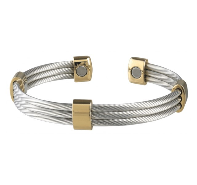 Pulseira Sabona Trio Cable Stainless Gold Magnetic 363
