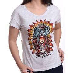 T-Shirt Ox Horns Feminina Cinza Claro/Estampa 6005