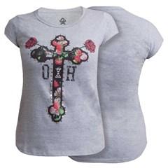 T-Shirt Ox Horns Feminina Cinza Mescla/ Estampa 6036